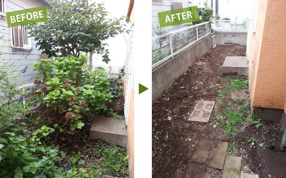 庭掃除・草刈ビフォーアフター1